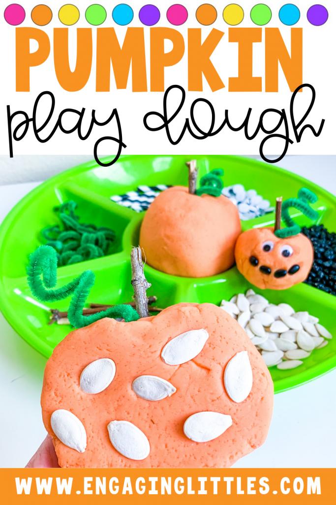 pumpkin play dough tray