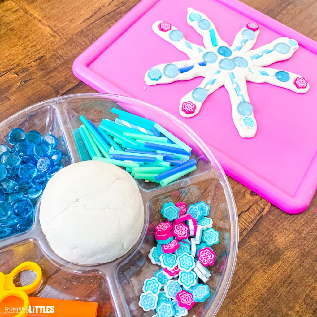 snowflake-playdough-tray