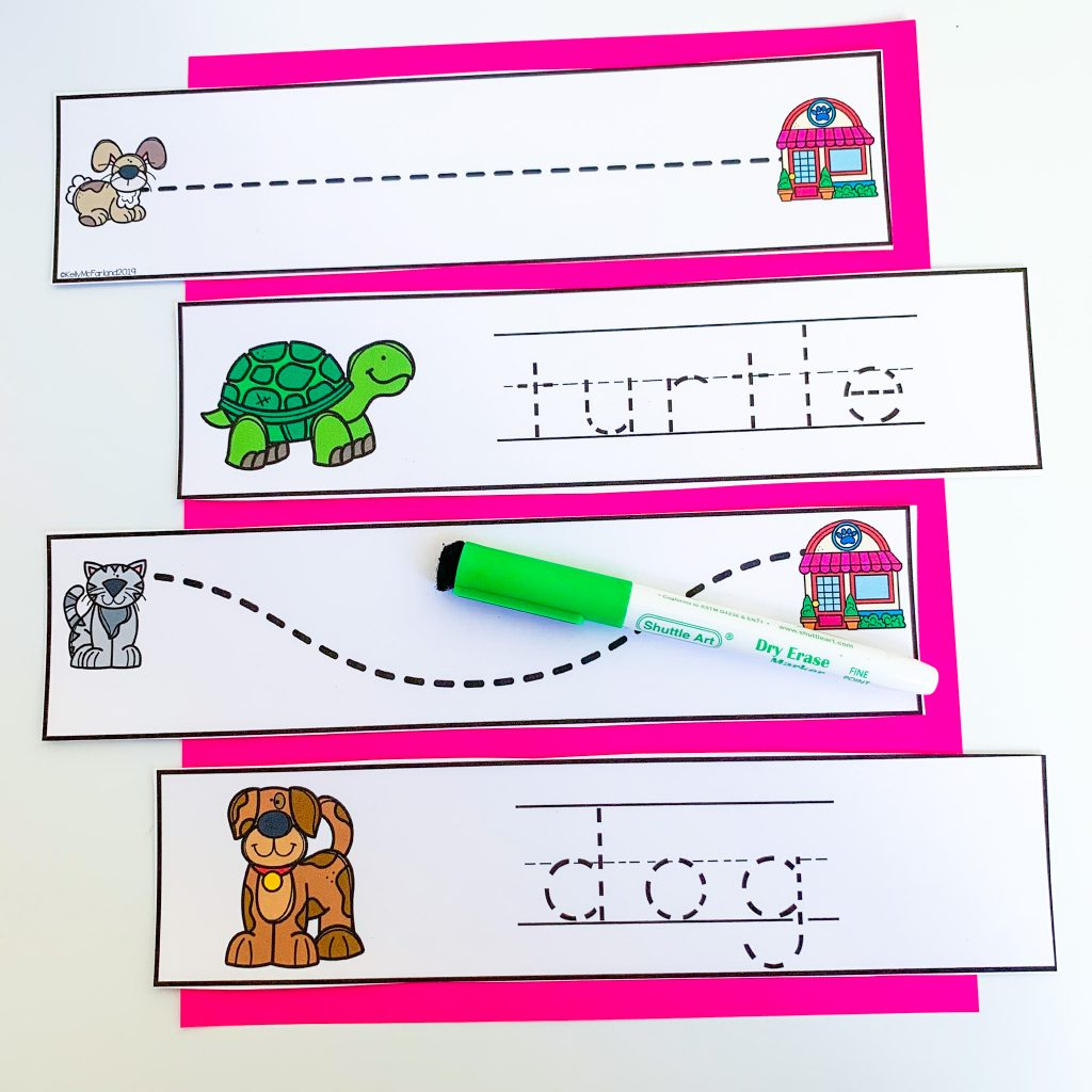 pre-k pet tracing strips