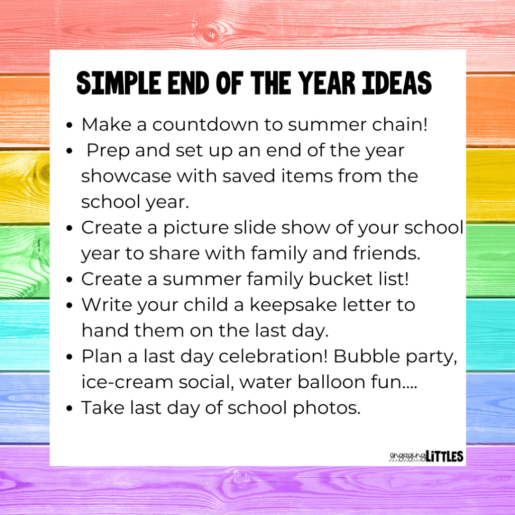 easy end of the school year ideas
